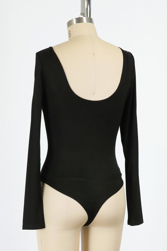 Double Lined Bodysuit - Black