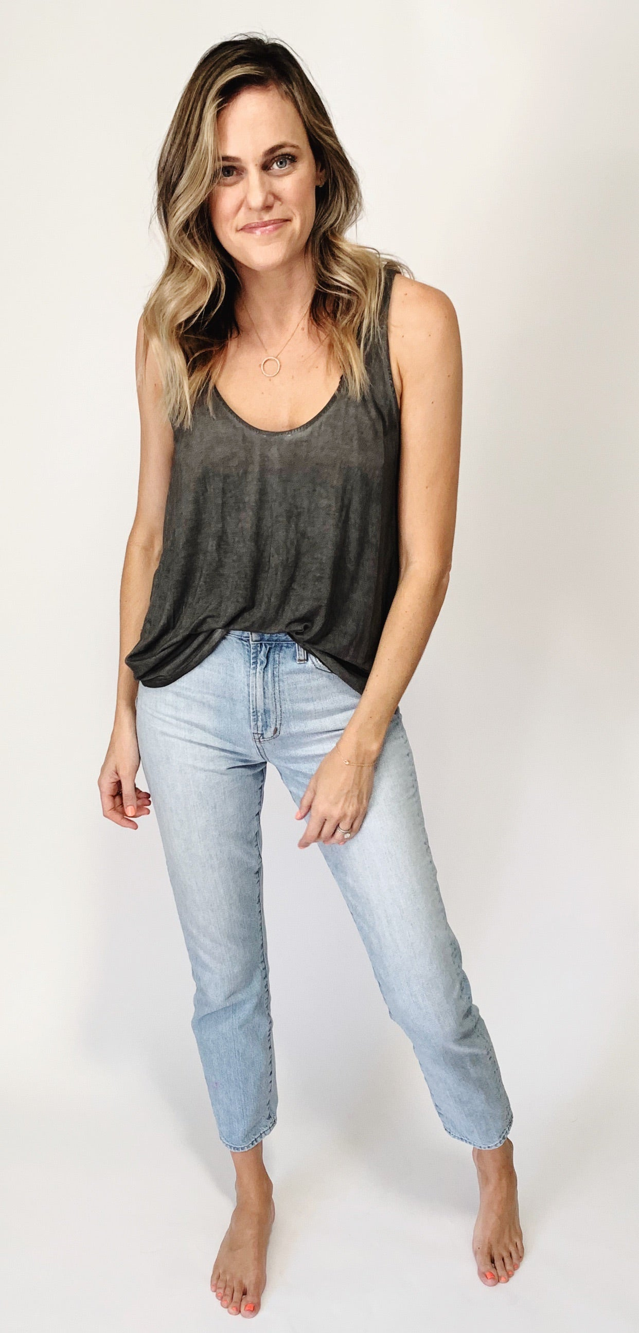 Claire Reversible Tank - Charcoal