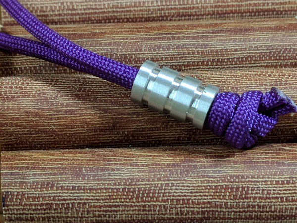 Medium Aluminum Lanyard Bead With Three Grooves and a Free Paracord Lanyard