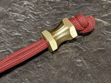 Medium Hex Spool Brass Lanyard Bead and a Free Paracord Lanyard