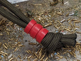Medium Red G10 Lanyard Bead With Two Grooves and a Free Paracord Lanyard