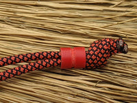 Medium Red G10 Lanyard Bead With One Groove and a Free Paracord Lanyard