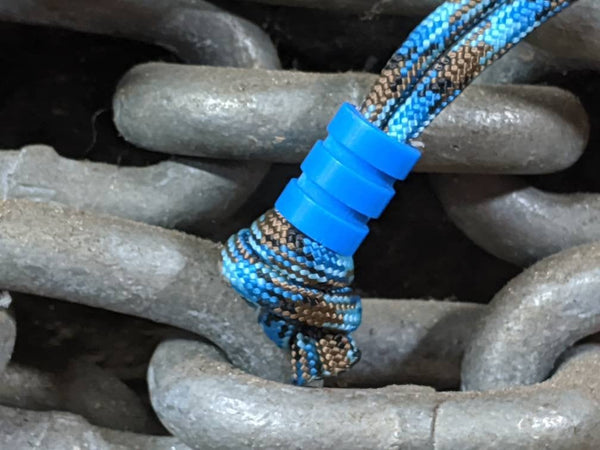 Medium Blue G10 Lanyard Bead With Two Grooves and a Free Paracord Lanyard