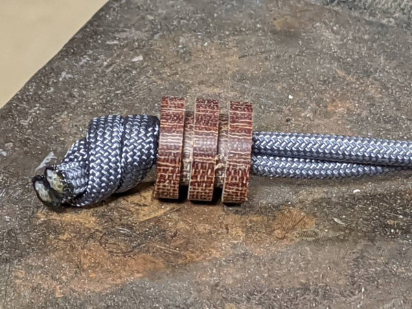Large Natural Micarta Lanyard Bead With Two Grooves and a Free Paracord Lanyard
