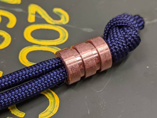 Medium Copper Lanyard Bead With Two Grooves and a Free Paracord Lanyard