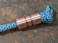 Wide Edge Medium Copper Bead With 2 Grooves and a Free Paracord Lanyard