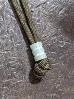 Medium Jade Green G10 Lanyard Bead With Two Grooves and a Free Paracord Lanyard