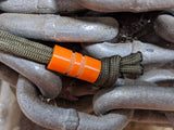 Wide Edge Medium Orange G10 Bead With 2 Grooves and a Free Paracord Lanyard