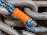 Medium Orange G10 Lanyard Bead With Four Grooves and a Free Paracord Lanyard