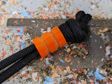 Medium Orange G10 Lanyard Bead With Two Grooves and a Free Paracord Lanyard