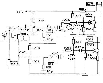 the principle circuit of a stereo audio amplifier