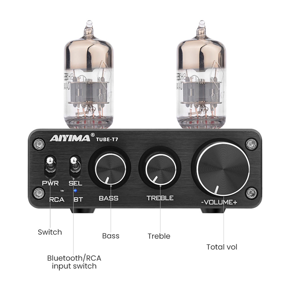 Tube Amplifier Preamp - AIYIMA T7 | Bluetooth Amplifier | 2.0CH Tube Pre-amp | Vacuum Tube Amplifier - AIYIMA