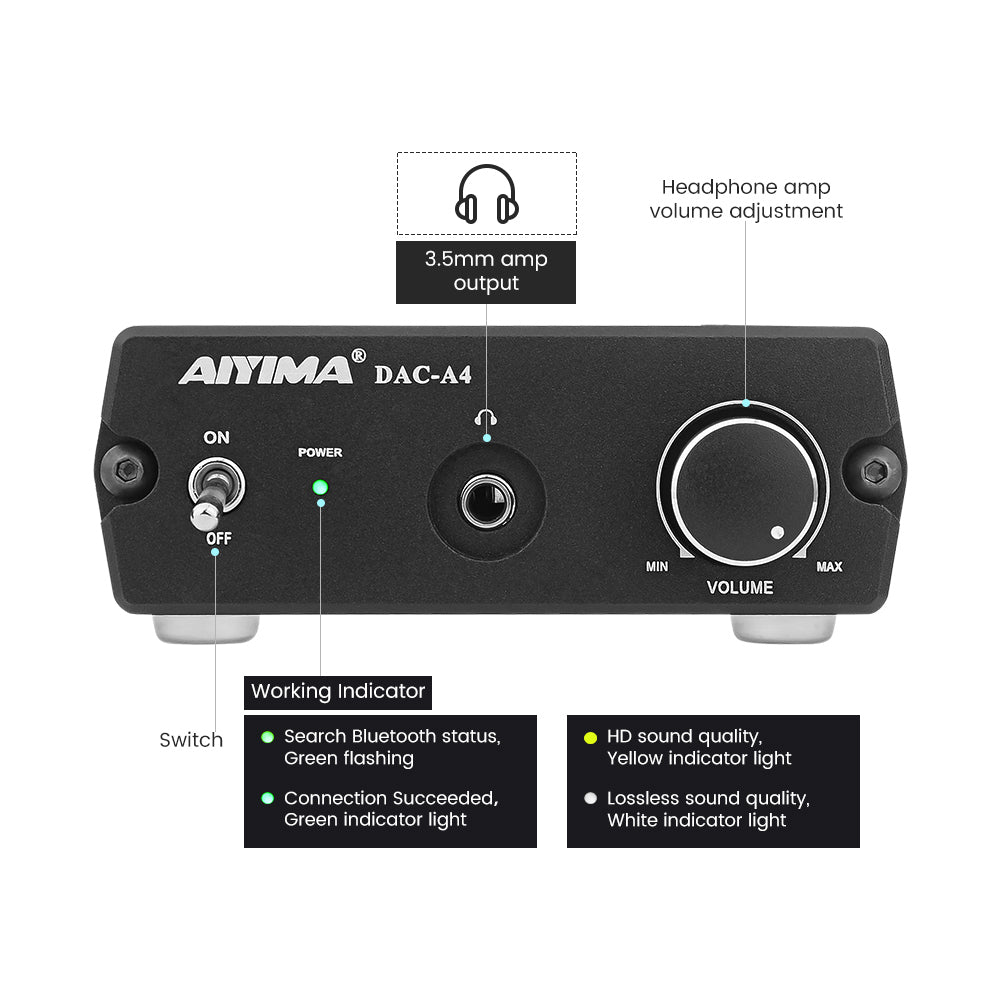 DAC Amplifier - AIYIMA DAC A4 | Headphone Amplifier | Digital Audio Decoder | Bluetooth DAC - AIYIMA