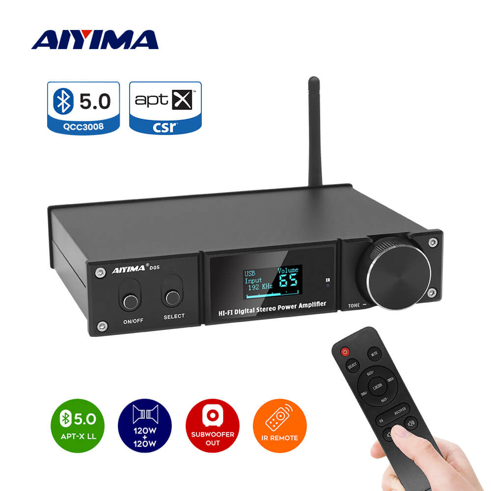 DAC Amplifier - AIYIMA D05 | 5.0 Bluetooth | 120W×2 | 2.1 Channel Digital Power Amplifiers | Subwoofer Amp - AIYIMA