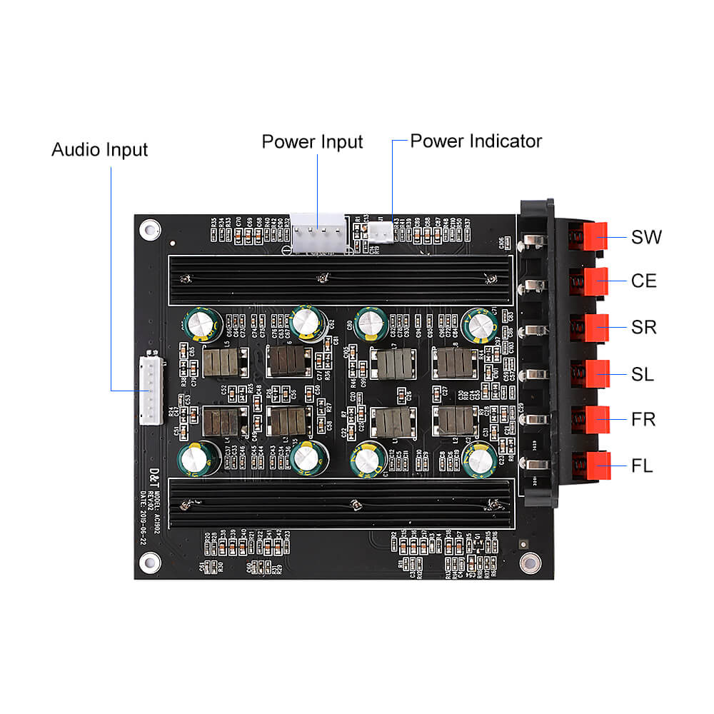 Amplifier Board - AIYIMA B2D1929 | TPA3116 5.1 Channel Amplifier Audio Board 50Wx4 100Wx2 Digital Power Sound Speaker Amplifier - AIYIMA
