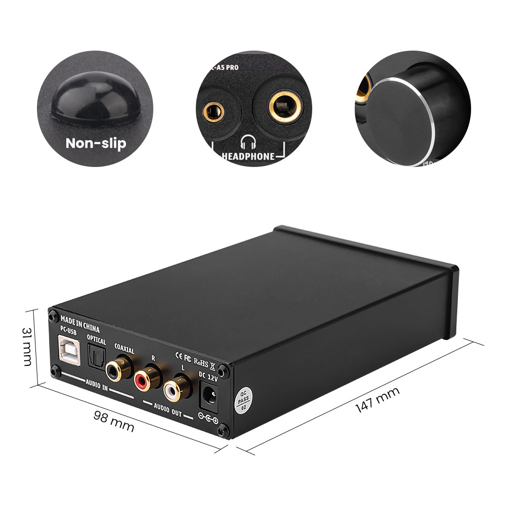 DAC Amplifier - AIYIMA DAC A5 Pro | Headphone Amplifier | Digital Optical Coaxial PC USB Converter - AIYIMA