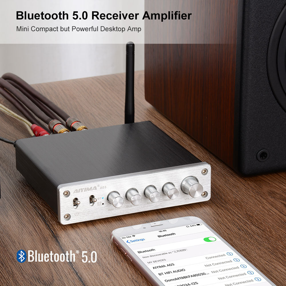 Bluetooth Amplifier - AIYIMA A03 | Subwoofer Amplifier | Class D Amplifier | Hifi Stereo Bass Amplifier
