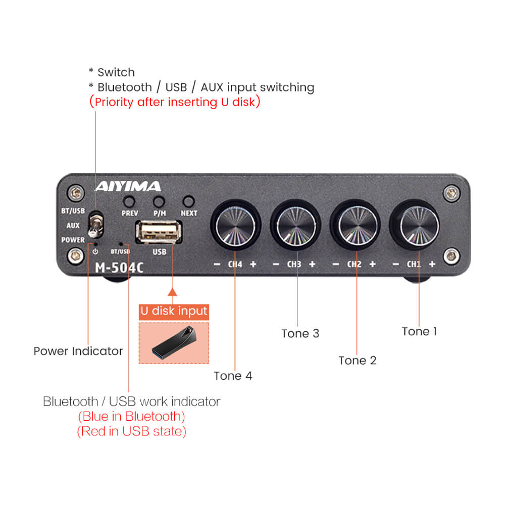 Bluetooth Amplifier - AIYIMA B2D2204 | 50W*4 Four Channel | TPA3116D2 | NE5532 | 5.0 Bluetooth Amplifier - AIYIMA