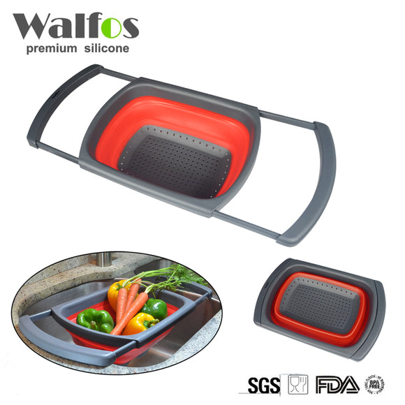 WALFOS FOOD Grade Collapsible Silicone fruit Vegetable Colander Strainer Sink wash Basket Cooking kitchen basket strainer gadget