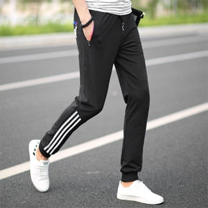 Mens Pants Fashion Skinny Sweatpants Mens Joggers Striped Slim Fitted Pants Gyms Clothing Plus Size 5XL Harem Pant