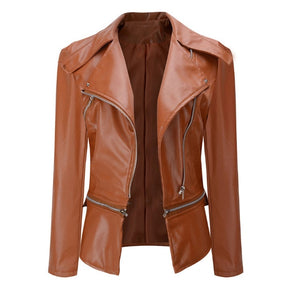 Coat HOT Jacket Women Winter Autumn Fashion Motorcycle Jacket Black faux leather coats Outerwear