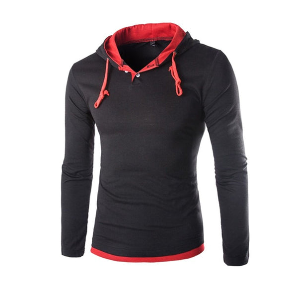 Long Sleeve Hooded T shirt Men Slim Fit Hooded T-shirts Pullover Hoodies Tops