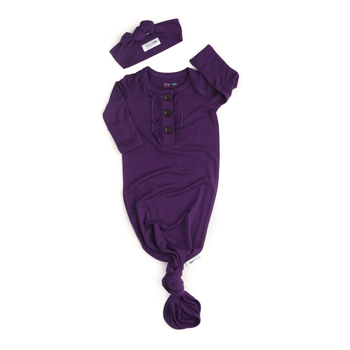 Gigi and Max - Plum Ruffle knotted newborn gown and headband
