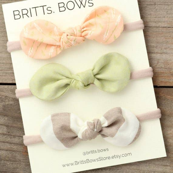 BRITTs. BOWs - Peach Floral Headband - Set of 3