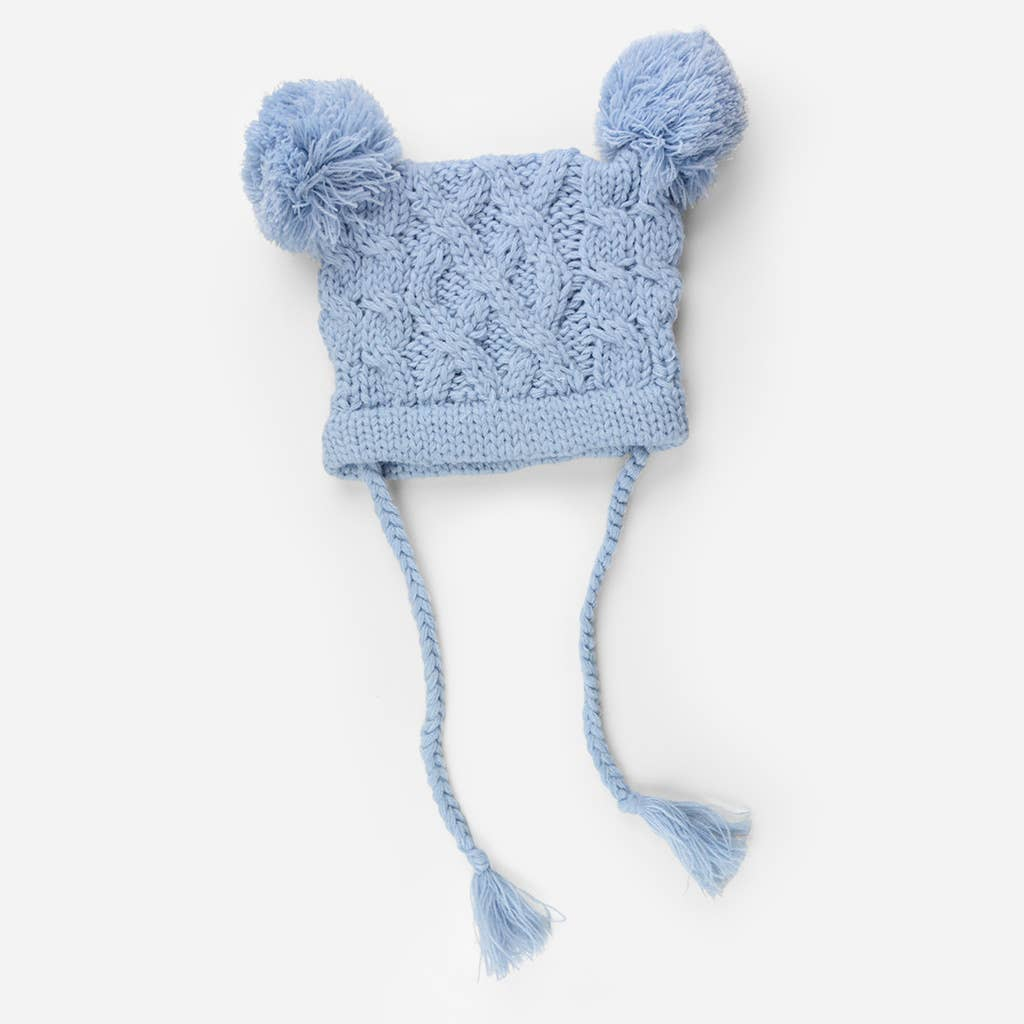 {KNIT HAT} The Blueberry Hill - Quinn Cable Pom Pom, Blue