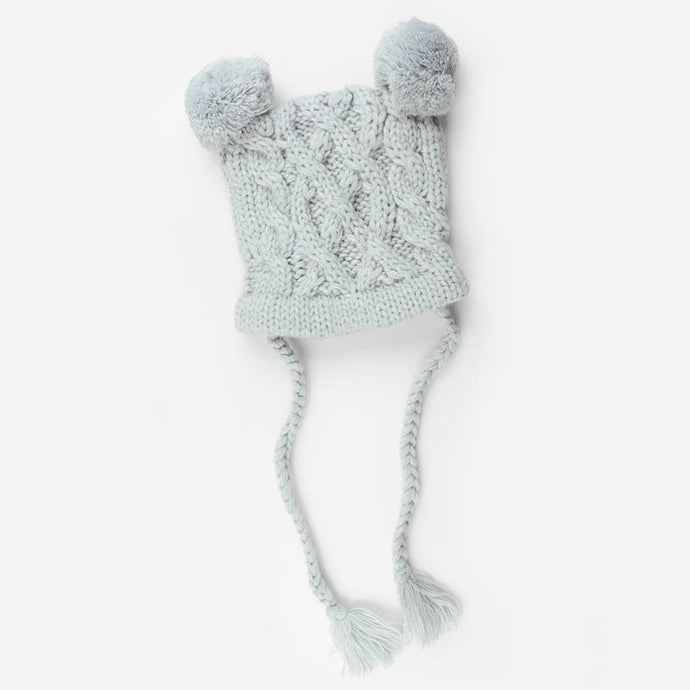 {KNIT HAT} The Blueberry Hill - Quinn Cable Pom Pom, Grey