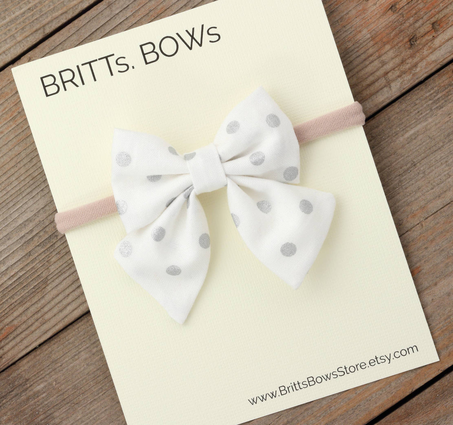 BRITTs. BOWs - White and Silver Dot Baby Bow