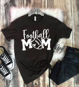 {MOM TEE} Football Mom - Heather Black