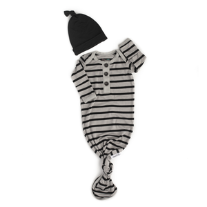 Gigi and Max - Gray and black stripe knotted button newborn gown and hat