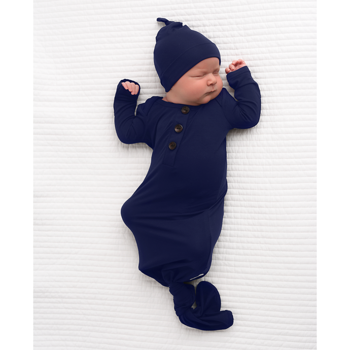 Gigi and Max - Navy knotted button newborn gown and hat