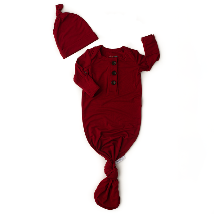 Gigi and Max - Red Rust Knotted Button Newborn Gown and Hat