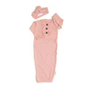 Gigi and Max - Light Pink Ruffle Newborn Gown and Headband