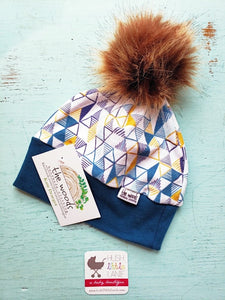 {HAT} Beanie - Medium (6-12m) Blue Mustard Triangle