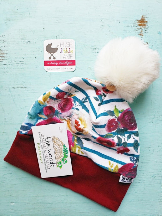 {HAT} Beanie - Large (12m-Teen) Floral Stripe
