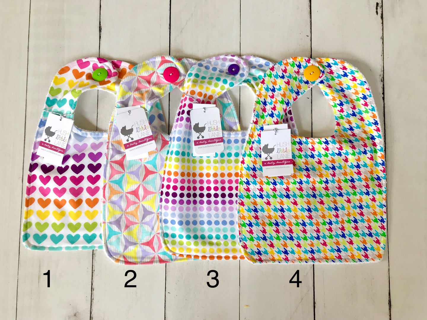 {BIB} Handmade Button Bib - Rainbow