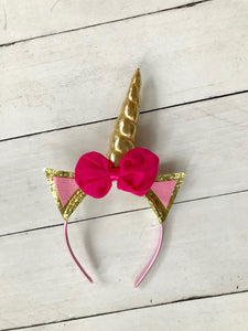 {HEADBAND} Unicorn Pink Bow