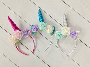 {HEADBAND} Unicorn Triple Flower