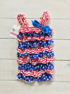 {ROMPER} Red and White Chevron with Stars