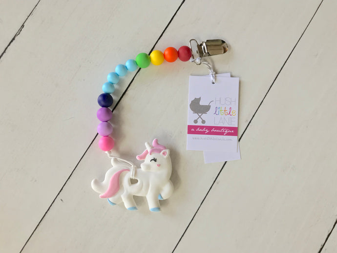 {TEETHER} Silicone Unicorn with Clip