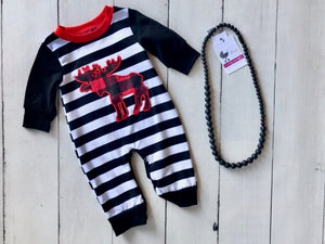 {ROMPER} Moose Stripes