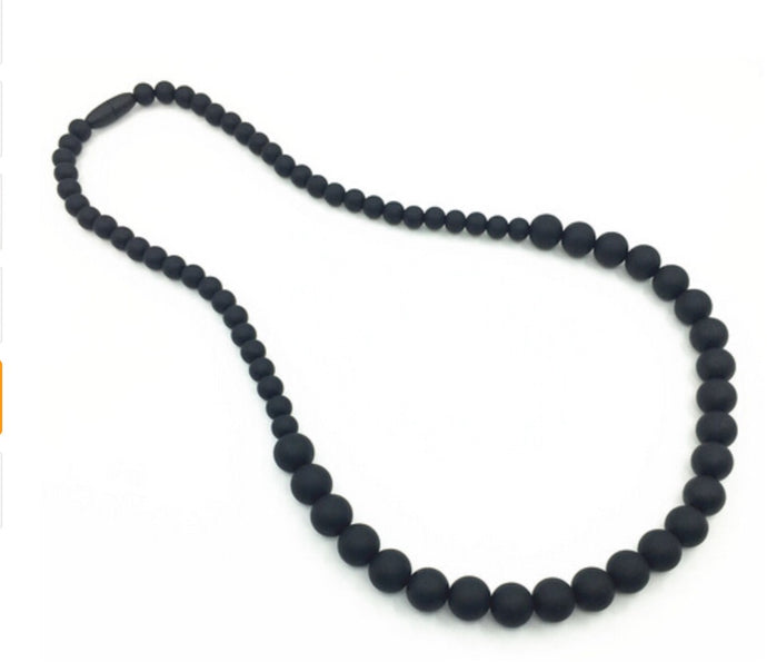 {TEETHER} Silicone Teething Necklace - Black
