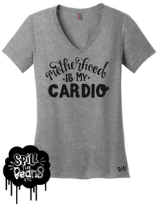 spillthebeansetc - Motherhood Is My Cardio Tee Or Tank