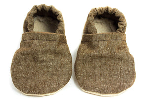 Yeti Feet & Company - Faded Brown Linen Baby Moccs
