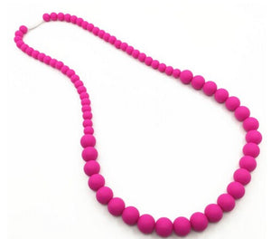 {TEETHER} Silicone Teething Necklace - Fuchsia