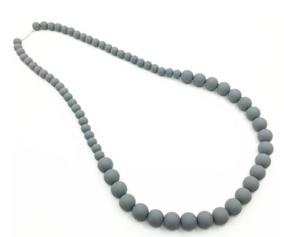 {TEETHER} Silicone Teething Necklace - Grey