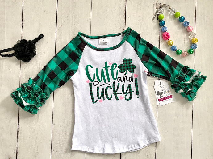 {SHIRT} Cute and Lucky Ruffle Raglan